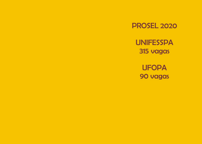 Prorrogadas até o dia 12 de novembro as inscrições para o Prosel da UNIFESSPA e da UFOPA. Os processos de seleção especial estão ofertando 405 vagas através do Forma Pará para nove municípios paraenses.